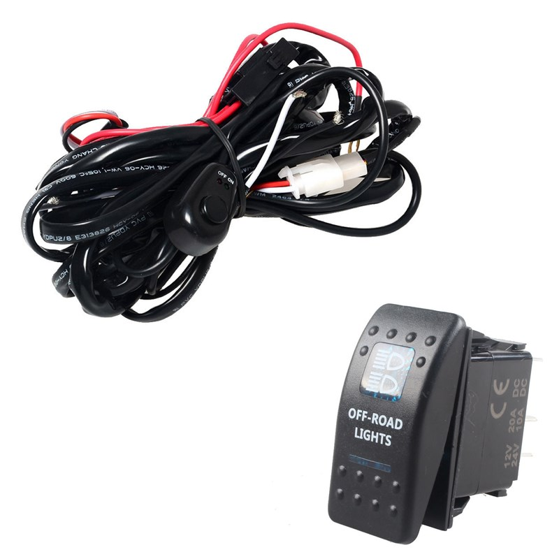 ee support 40a 300w wiring harness kit led light bar rocker switch light road fuse off road car styling xy01 in car switches \u0026 relays from automobiles Wombat Kit Car