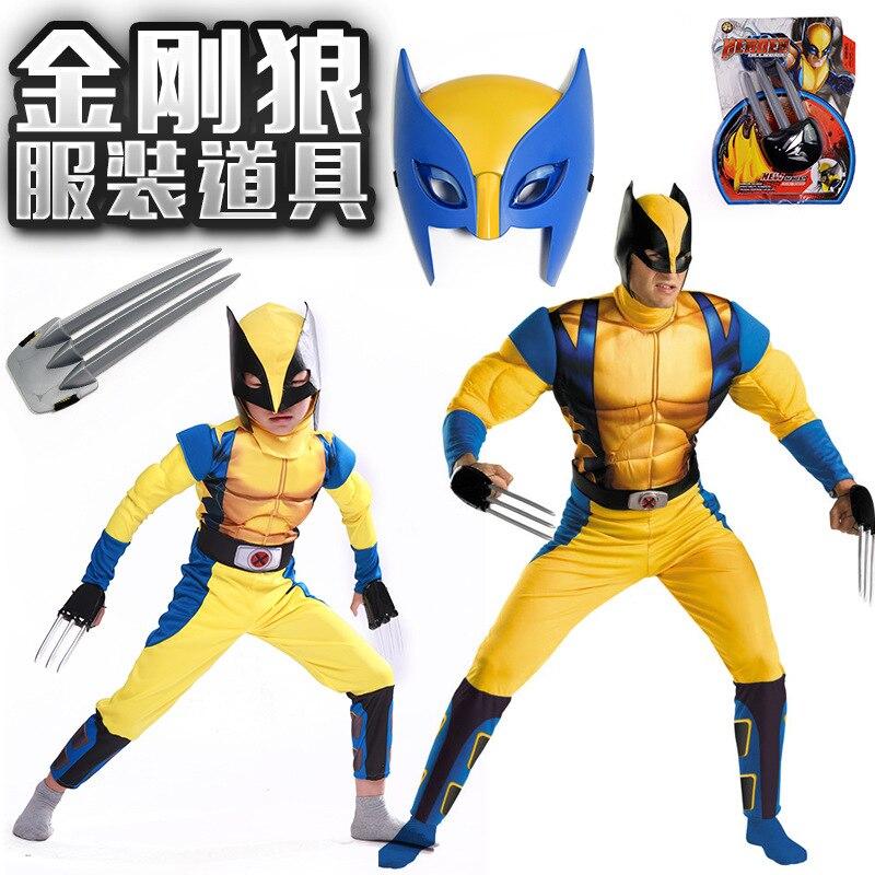 2017 Boys X man Logan Origins Marvel Superhero Halloween Costumes Kids Adults Carnival Party Performance Cosplay Clothing