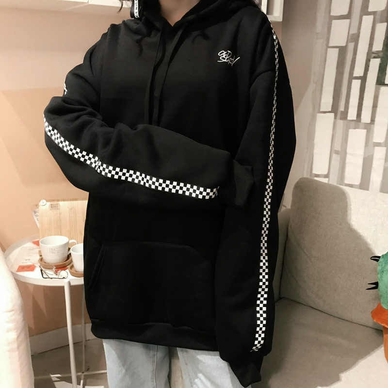 198c1267cfe 2018 Spring Autumn Korean Women S New Fashion Long Pullover Plus Velvet  Checkered Embroidery Letters Hoodies Top Sweatshirt