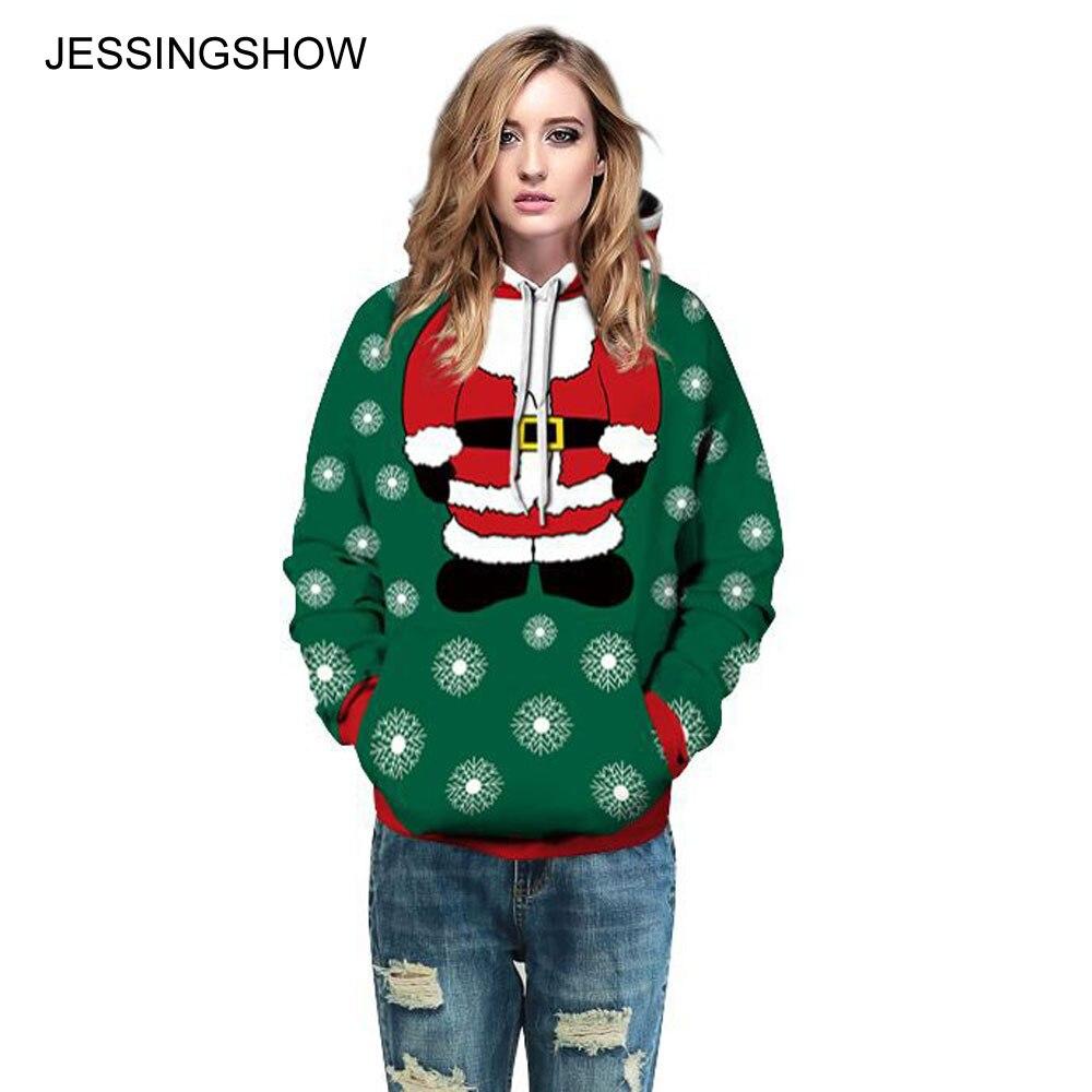 JESSINGSHOW 2017 Casual Women Men Green Hoodies Sweatshirt sudadera mujer Santa Claus Snowflake 3D Print Pullover Hooded Tops