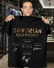 Bohemian Rhapsody Freddie Mercury Signatures Men T-Shirt Black Cotton S-5XL Printed Short Sleeve Funny Tee