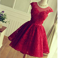 2017 New Red Prom Dresses Short Applique Beaded Scoop Neckline Cap Sleeve Backless Sheer Lace Formal Party Gowns Custom P1507