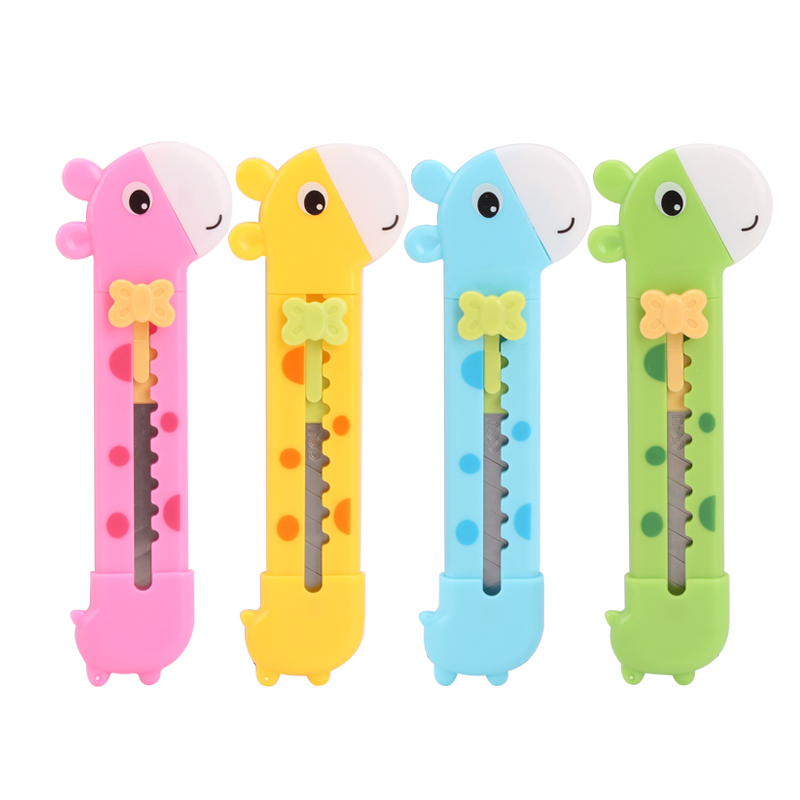 1 Pc Random Cute Giraffe Utility Knife Paper Cutter Cutting Paper Razor Blade Office Stationery Escolar Papelaria School Supply