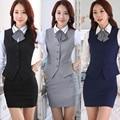 Mujeres elegantes OL chaleco ocasional más el tamaño XXXL chaleco Gilet negocios con cuello en v de la carrera blusas cortas formales de oficina ropa de trabajo prendas de vestir exteriores