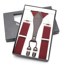 2018 Malc Suspenders Men Women 3.5cm Width 4 Clip Leather Vintage Wedding Bridegroom Skirt Suspender Brace Gift