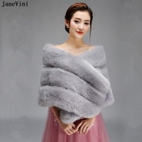 JaneVini Elegant Gray Bridal Fox Faux Fur Bolero for Women Winter Warm Cape Shawls Cloak Wraps Brides Evening Dress Accessories
