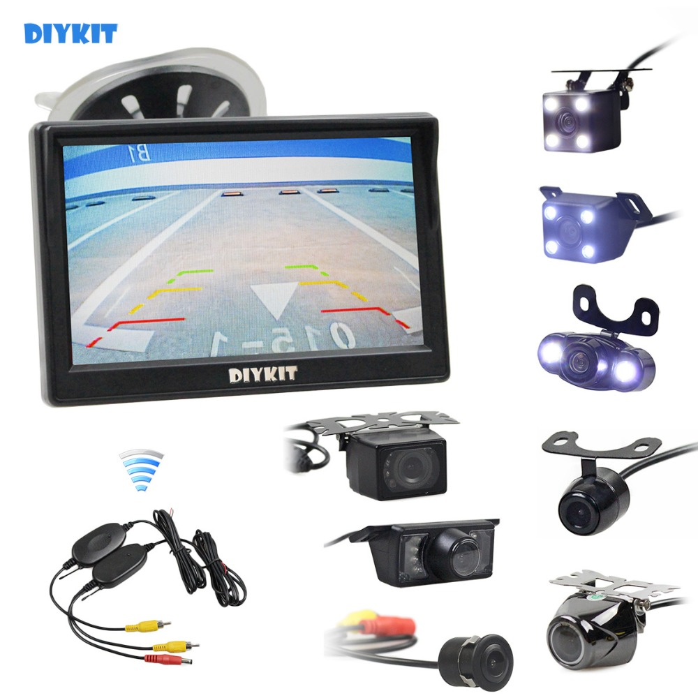 DIYKIT Wireless 5inch Car Rearview Monitor Auto Parking Vedio + LED Night Vision Backup Reverse Camera HD Car Rear View CameraDIYKIT Wireless 5inch Car Rearview Monitor Auto Parking Vedio + LED Night Vision Backup Reverse Camera HD Car Rear View Camera