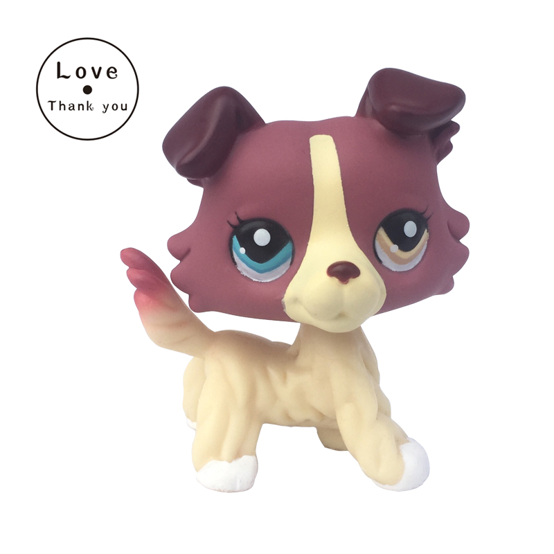 pet shop toys Rare Collie Dog #1262 Mauve Plum Cream Pet Puppy Different Color Eyes Toys pet shop toys dachshund 932 bronw sausage dog star pink eyes