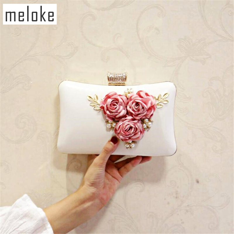 meloke 2019 hot sales women handmade evening clutch bags flowers party bags  with chain wedding dinner f9be68377c47