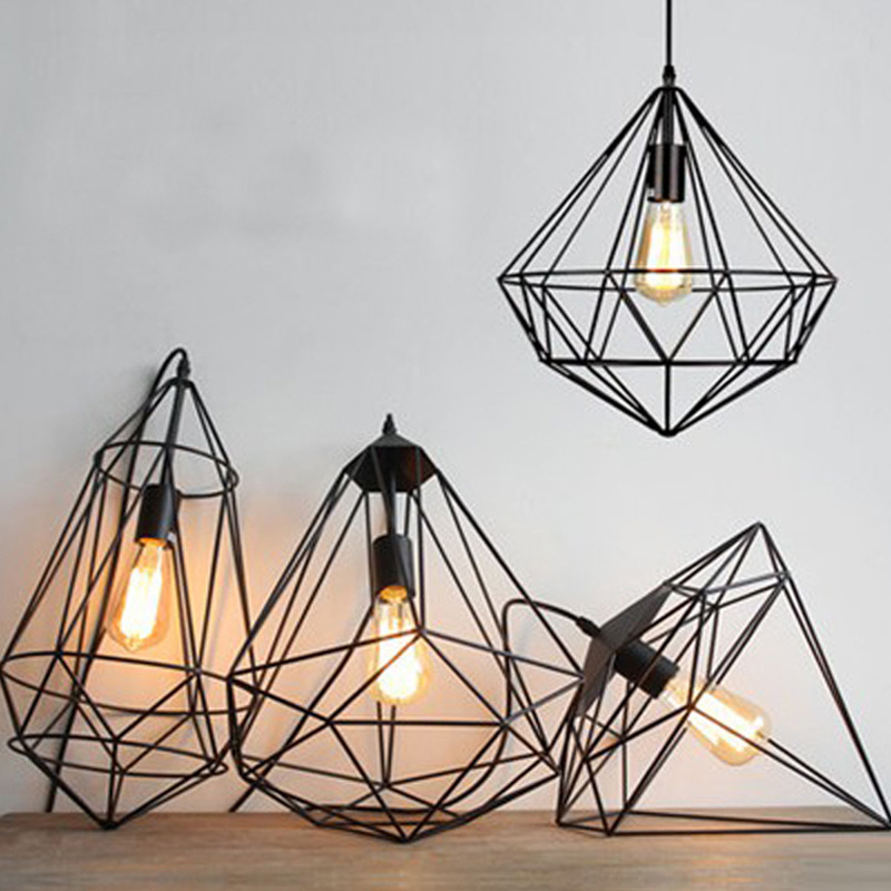 light lamp chandelier industrial itm pendant rope rustic bamboo metal cage shade