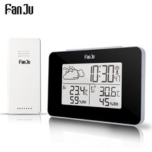 Fanju FJ3364 Jam Alarm Digital Weather Station Wireless Sensor Hygrometer Thermometer Elektronik LCD Waktu Desktop Jam Meja(China)