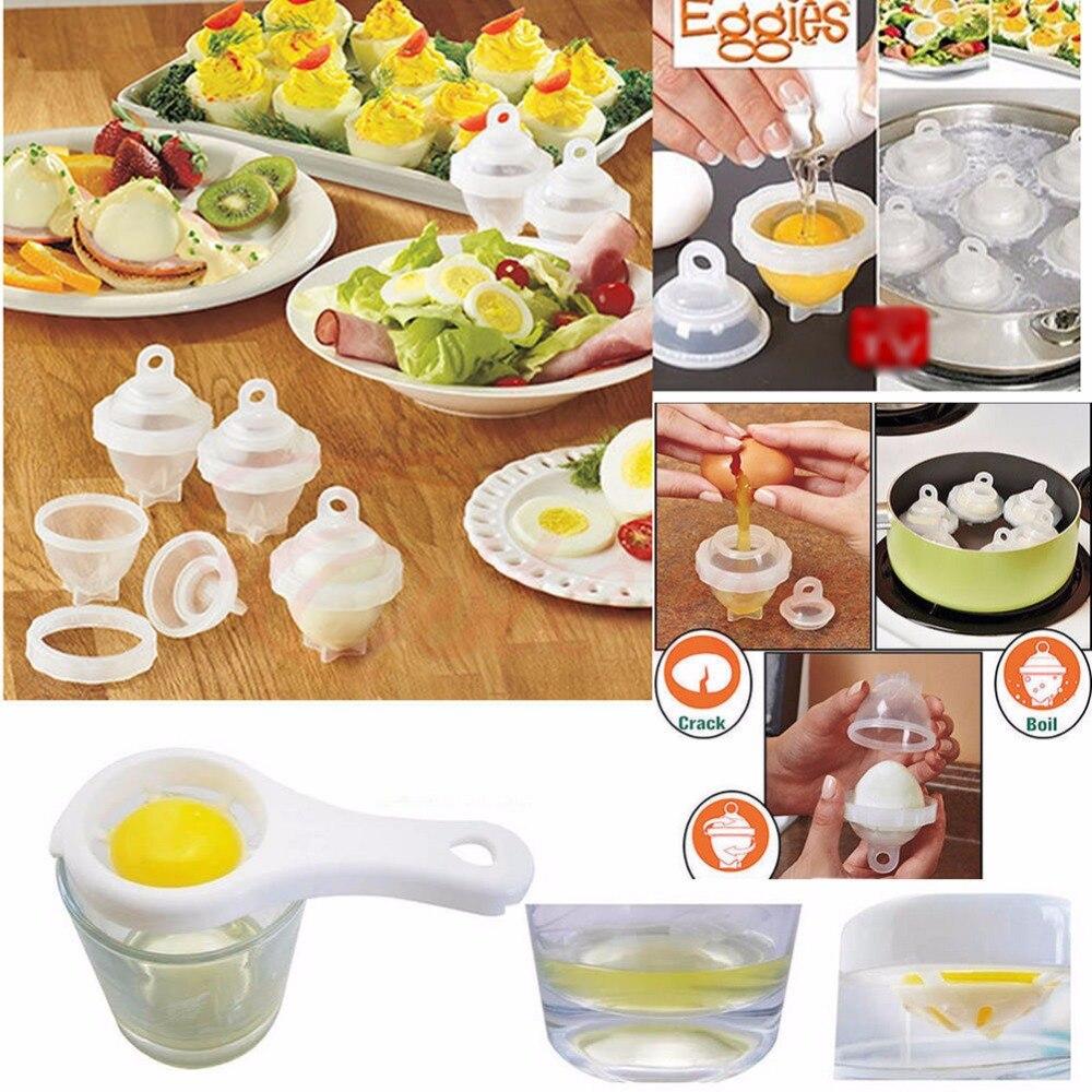 Multifunzione Duro Bollire Egg Cooker 6 Eggies Senza Conchiglie Con Bonus Uovo Separatore Bianco Uova Fornello del Vapore Strumenti di Cottura