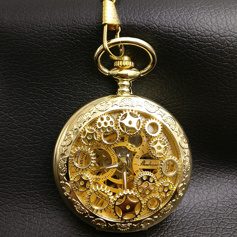 Gold Color Gear Mechanical Pocket Watch Men Skeleton Steampunk Industry Fob Watches Roman Man Father Gift Vintage Hand Wind цена и фото