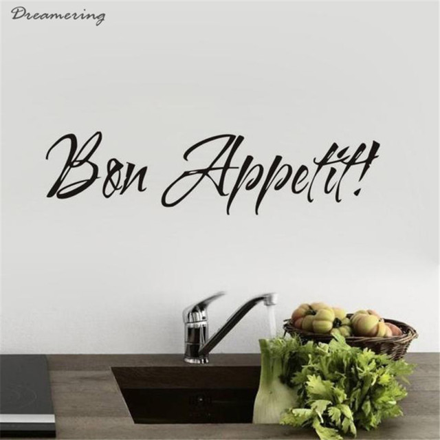 High Quality 1PC Vinyl Wall Stickers Quote Bon Appetit Dinning Room Decor  Kitchen Decals Art Hot