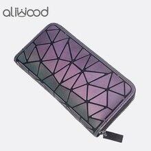 Aliwood геометрический Для женщин бумажник сцепления известных брендов женский длинный кошелек на молнии светящиеся Кошелек Дамская мода телефон сцепления
