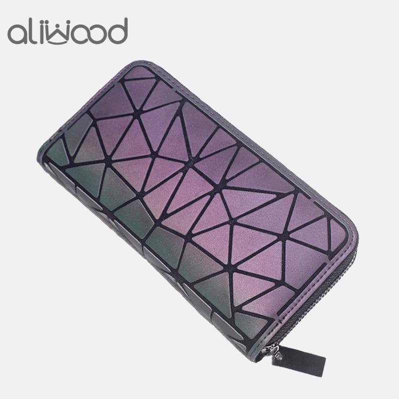 Aliwood Geometric Women Wallet Clutch Famous Brands Female Long Purse Zipper Glowing Wallet Purse Ladies Fashion Phone Clutch
