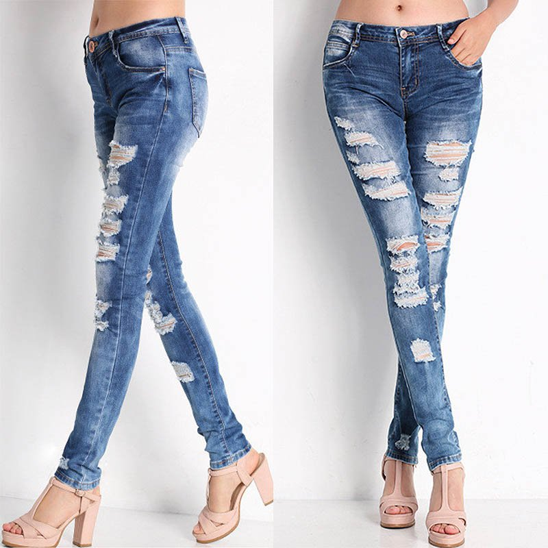 Hot Fashion Ladies Cotton Denim Pants Stretch Womens Bleach Ripped  Female Skinny Jeans Denim Jeans