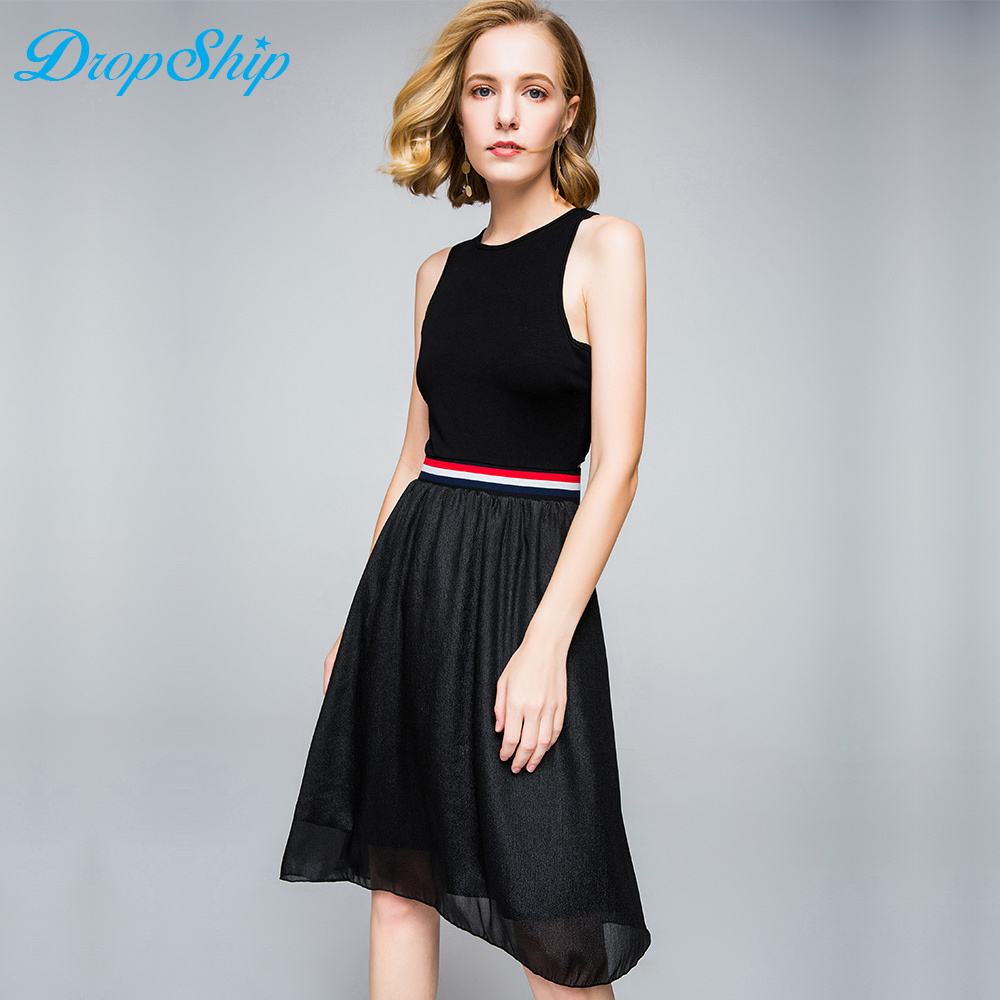 2018 New Fashion Sleeveless Bandage Summer Women Streetwear Black Patchwork Vestidos Hollow Out Elastic Sashes Midi Dress
