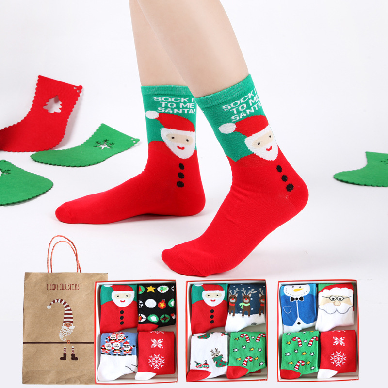 Christmas Gift Box women cute cartoon santa claus series cotton socks for ladies autumn winter fashion socking 4pairs/box