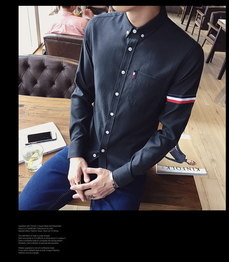 2017 New autumn men's casual tops brand shirt striped Strip decorate cotton men fashion solid color long sleeved Shirts M-XXXL 77