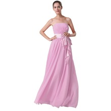 A line New Long Strapless Chiffon Bridesmaid Dresses 2015 Elegant Sashes Stunning Sleeveless Formal Dresses Vestido De Noiva