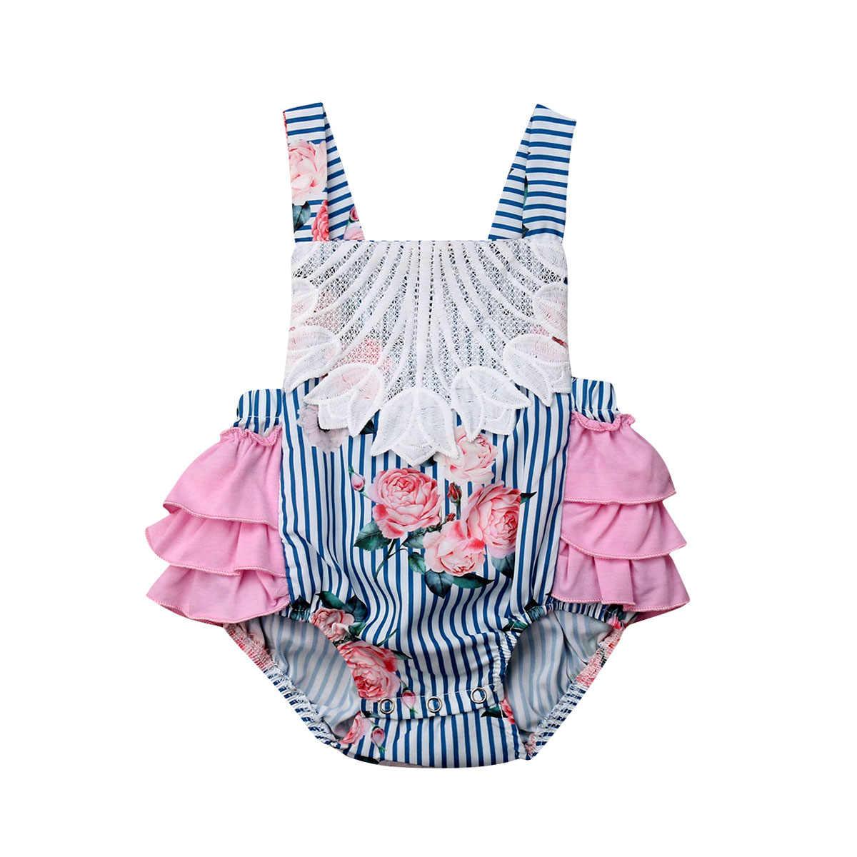 Боди принцессы для новорожденных девочек; кружевные цветочные полосатые комбинезоны с рюшами для малышей; Одежда для маленьких детей; комбинезон