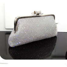 Women Crystal Rhinestone Clutch Bag Wedding Purse Party Handbag Diamond Pearl Beads Female Chains Bag