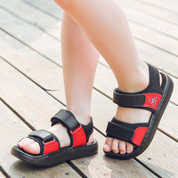 New 2018 Children Sandals High Quality Genuine Leather Kids Shoes Fashion Hook Loop Boys Beach Sandals