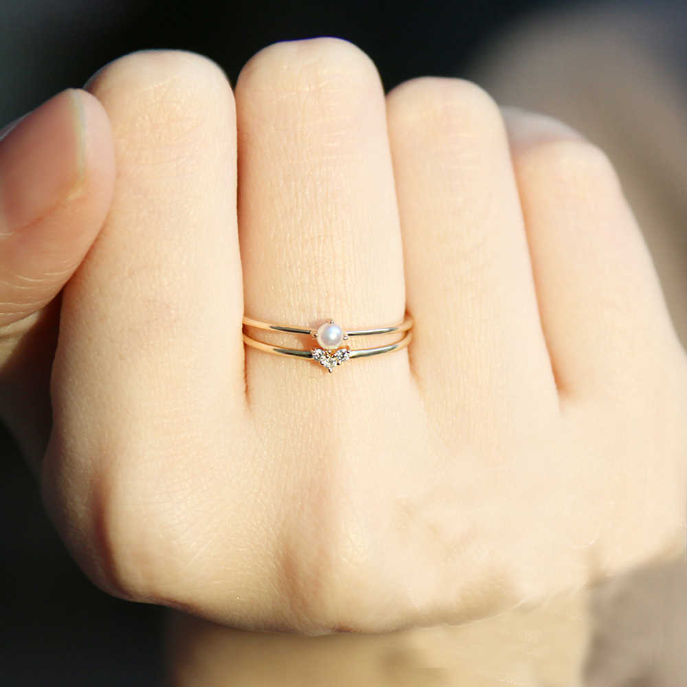 Simple Cute Heart Crystal Pearl Rings For Women Chic Dainty Thin Stackable Rings Delicate Party Rings Wedding Jewelry bijoux