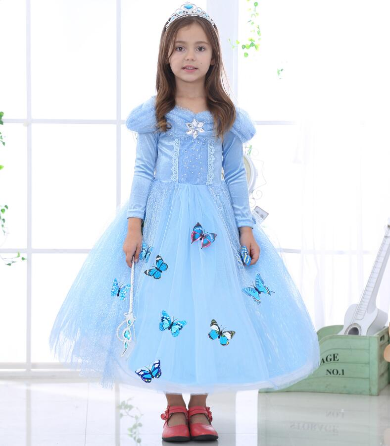 New Elsa Princess Cinderella dress Baby 3D-butterfly Costume kids clothes Costume Fancy Dress Cosplay Costume children clothes