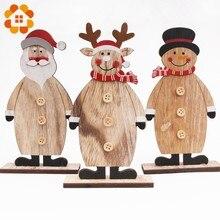 1pcs 3 Styles Cute Merry Christmas Desktop Gifts Toy Decorations Wood Material Deer Snowman Santa Claus Shape DIY Decor Supplies