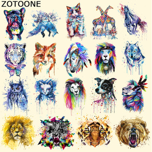 ZOTOONE Iron on Colorful Animal Patches for Clothes DIY Heat Transfer Vinyl Washable Stickers Lion Owl Tiger Patch Decoration