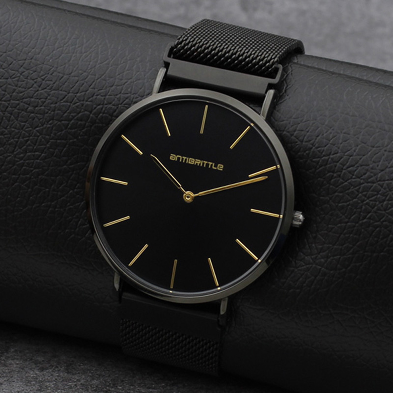 Quartz Black Luxury Brand Watch Men Super Ultra Thin Women Leather Stainless Steel Magnet Strap Gold Hand Waterproof Antibrittle ultra luxury 2 3 5 modes german motor watch winder white color wooden black pu leater inside automatic watch winder