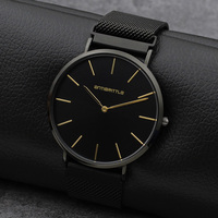 Quartz Black Luxury Brand Watch Men Super Ultra Thin Women Leather Stainless Steel Magnet Strap Gold