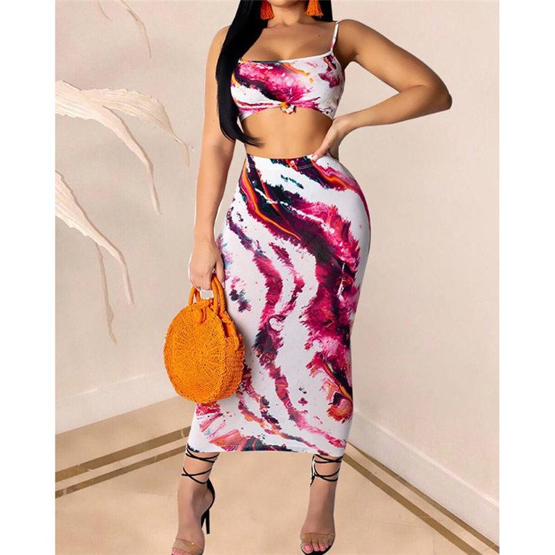 Two Piece Set Sexy Women's Strap Sleeveless Crop Tops Elastic Print Skirt Fashion Casual Set Club Party Wear Summer