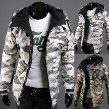 Бесплатная доставка Мужская хлопковая куртка с капюшоном Militar Камуфляжный Узор Камуфляж модная повседневная куртка Размеры M-XXL