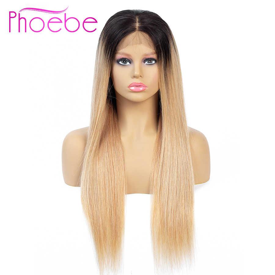 פיבי 4x4 Ombre בלונד תחרה סגירת פאה שחור 1B/27 Ombre תחרה סגירת שיער טבעי פאות עבור נשים רמי הודו פאת אמצע חלק
