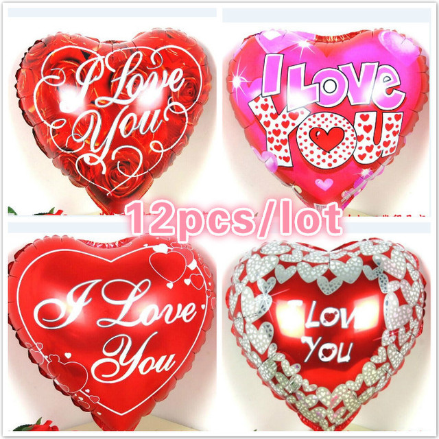12pcs lot rose i love you heart balloons foil valentine s day