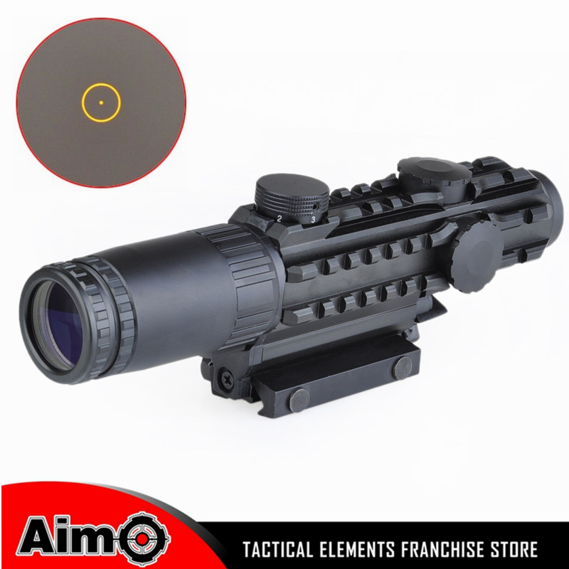 Aim AIrsoft 1-3x28 Riflescope Yellow Illuminated Rangefinder Reticle Shotgun Air Hunting Scope With Lens Cover 1-3 Times AO3033 discovery vt t 4 5 18x44sfvf white leters reticle side shooting hunting riflescope rangefinder for airsoft air guns