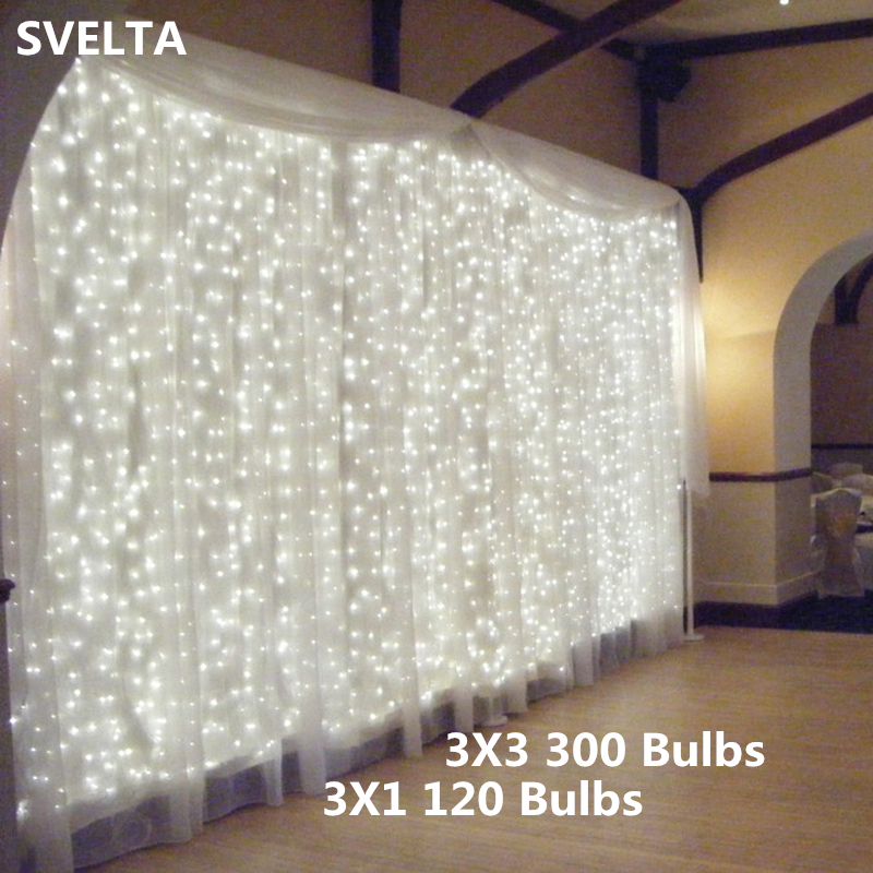 SVELTA 3X1/3 120/300Bulb Garland Christmas Fairy Curtain Lighs Icicle String Lights For  ...