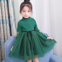 MOM LOOK 2017 Toddle Girl Autumn Winter Brand Princess Dress With Embroidery Long Sleeve Solid Vestiods