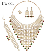 CWEEL African Beads Jewelry Sets Gold Plated Nigeria Wedding Beads Dubai Fashion Indian Chunky Jewellery Set