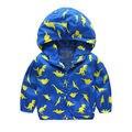 2016 venta caliente muchachos de los bebés de manga larga con capucha de impresión cremallera de la chaqueta de edad 3-7Y nueva llegada
