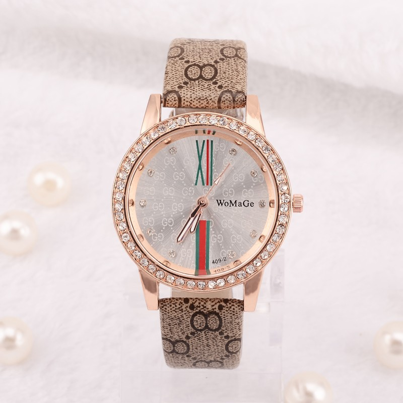 Women Watches Fashion New WOMAGE Top Luxury Design Rhinestone Ladies Clock Leather Band Casual Dress Wrist Quartz Watch relogio top brand unisex quartz sport watch men womage new rubber band quartz watch women fashion outdoor clock case oversize design uhr