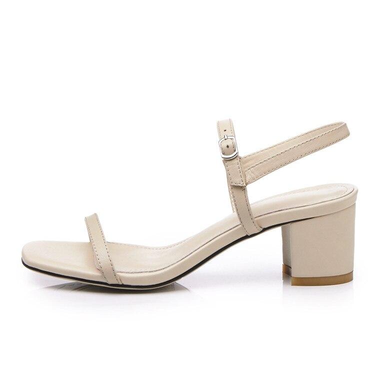 MLJUESE 2018 kvinnor sandaler Äkta läder spännerem Svart färg - Damskor - Foto 4