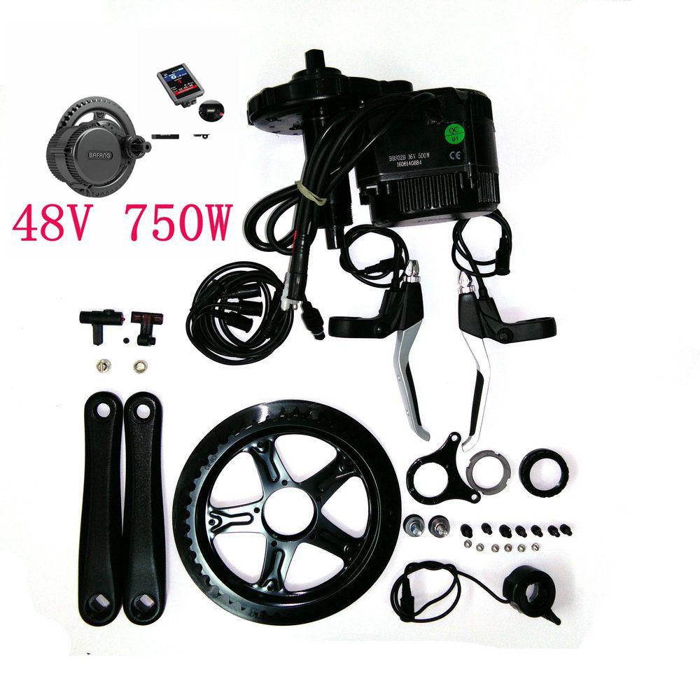 Free shipping 8fun/bafang motor BBS02B 48v 750w latest controller crank Motor eletric bicycles trike ebike kits