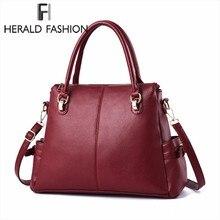 Herald Fashion Vintage Leather Women Shoulder Bag Large Capacity Women Handbag Female Causal Totes Bags Lady's Crossbody Bag недорого