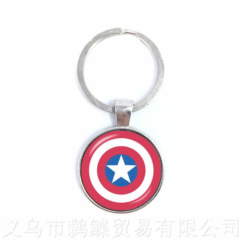 The Avengers Captain America Gantungan Kunci 25 Mm Bulat Kubah Kaca Kartun Klasik Logo Liontin Hadiah Pribadi untuk Kartun Kekasih