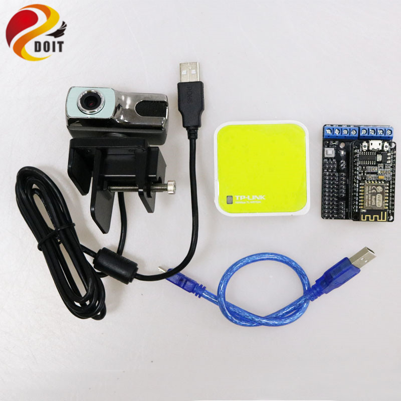 DOIT Video Control Kit for Robot Arm Tank/car Chassis Remote Control Kit by ESP8266 NodeMCU Board+Openwrt Router Camera RC Toy doit rc metal robot tank chaiss t300 wireless wifi car with esp8266 development board kit remote control page 4