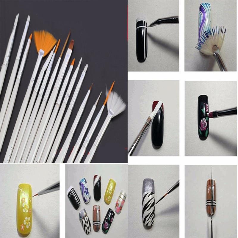Thinkboo 15Pcs Nail Art Brushes Set Painting Detailing Pen for manicure Nail styling tools Tips UV